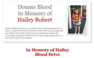 In Memory of Hailey  - Blood Drive -  June 21